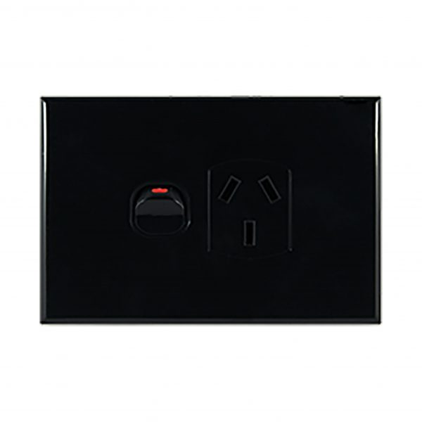 Slimline Single GPO 10A Black | GEO Series
