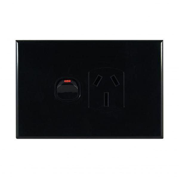 Single GPO 10A 240V AC BLACK | GEO Series