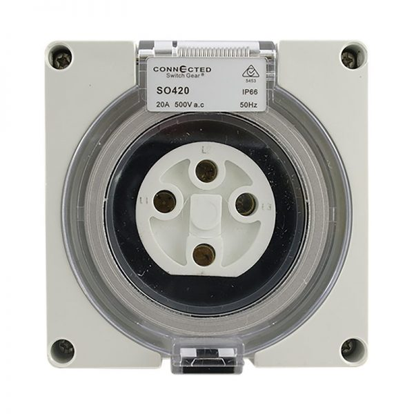 IP66 Socket Outlet 20A 500V AC 4 Pin