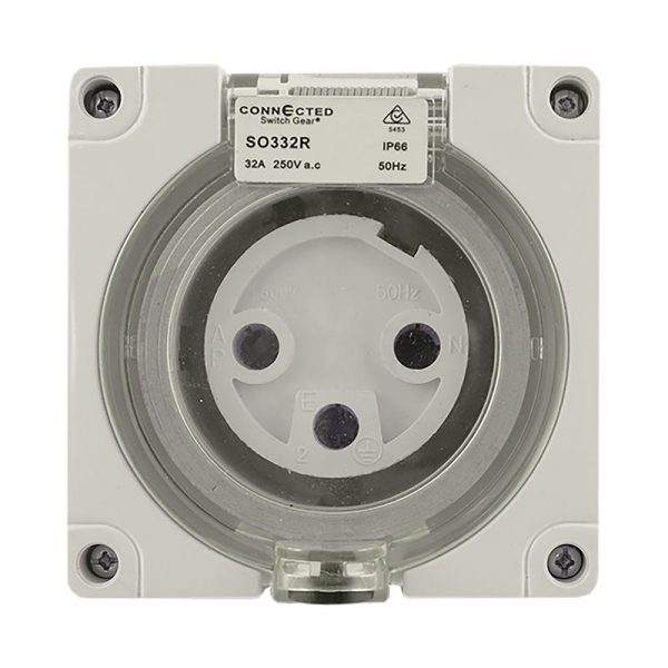 IP66 Socket Outlet 3 Pin ROUND 32A 250V AC