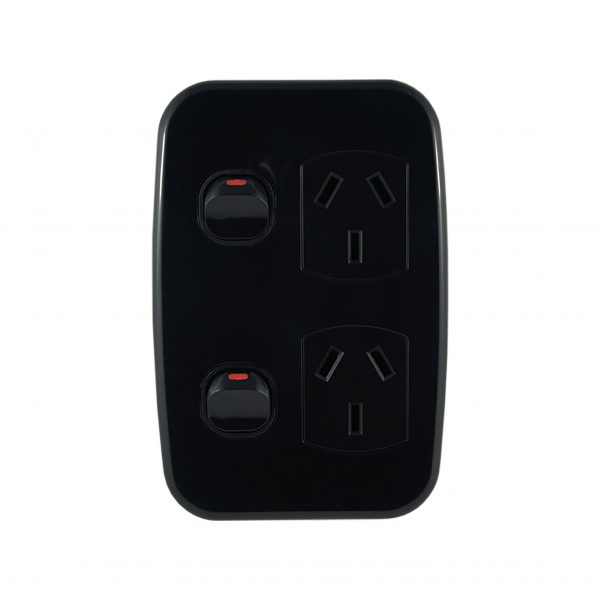 Double Power Point with Extra Switch Vertical 10A 250V AC BLACK