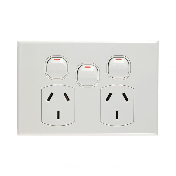 Double GPO with Extra Switch 10A 240V AC WHITE | GEO Series