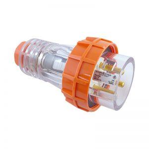 Straight Plug 20A 3 Pin Round 250V AC IP66