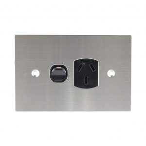 Stainless Steel GPO Single BLACK 10A 250V AC | PLATINUM Series