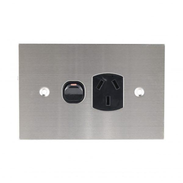 Stainless Steel GPO Single BLACK 10A 250V AC   PLATINUM Series