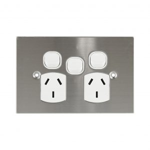 Stainless Steel GPO Double with Extra Switch 10A | PLATINUM Series