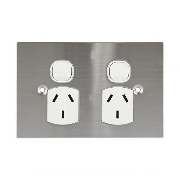 Stainless Steel GPO Double 10A 250V AC BLACK | PLATINUM Series