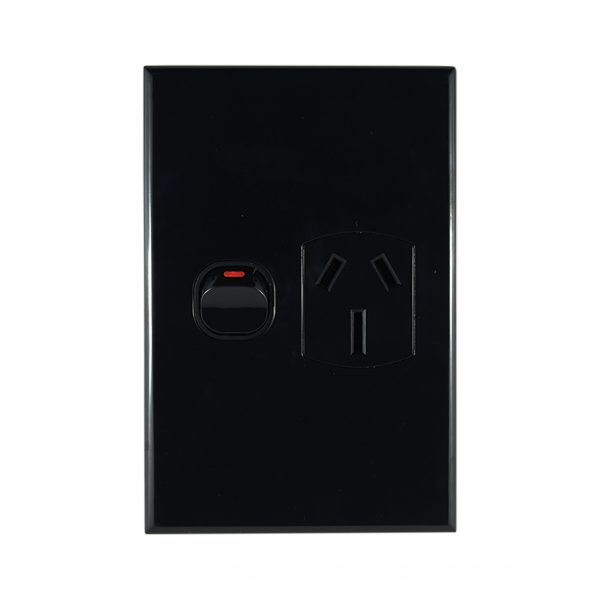 Single GPO 15A 240V AC Vertical Black Slimline
