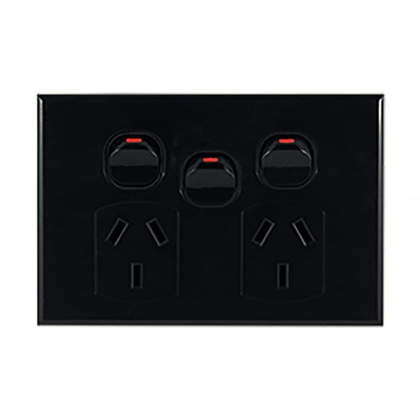Double GPO with Extra Switch 10A 240V AC BLACK | GEO Series
