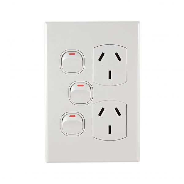 Double GPO with Extra Switch Vertical 10A 240V AC | GEO Series