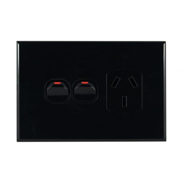 Single GPO with Extra Switch BLACK 10A 240V AC | GEO Series Slimline