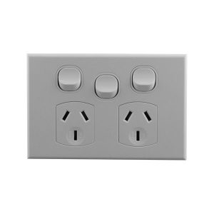 Double Power Point With Extra Switch 10A 250V AC | BASIX S Series