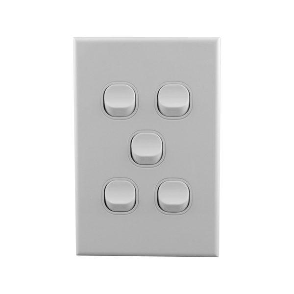Light Switch 5 Gang 10amp 250V AC BASIX S