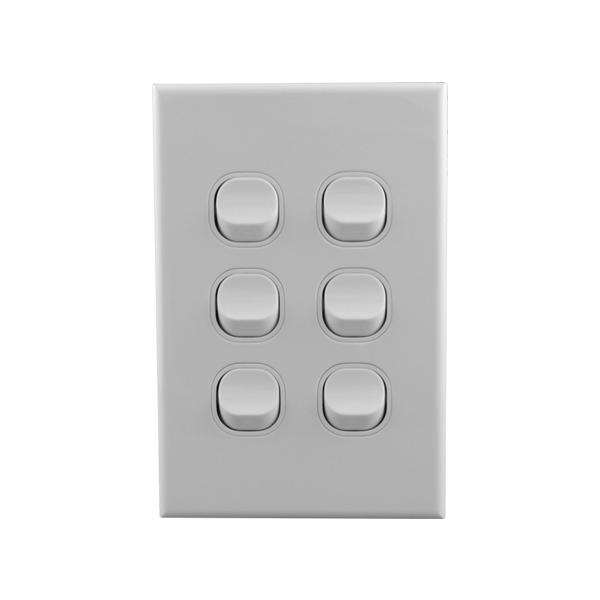 Light Switch 6 Gang 10amp 250V AC BASIX S