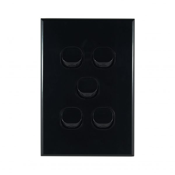 GEO Series 5 Gang Light Switch BLACK 10A 250V AC