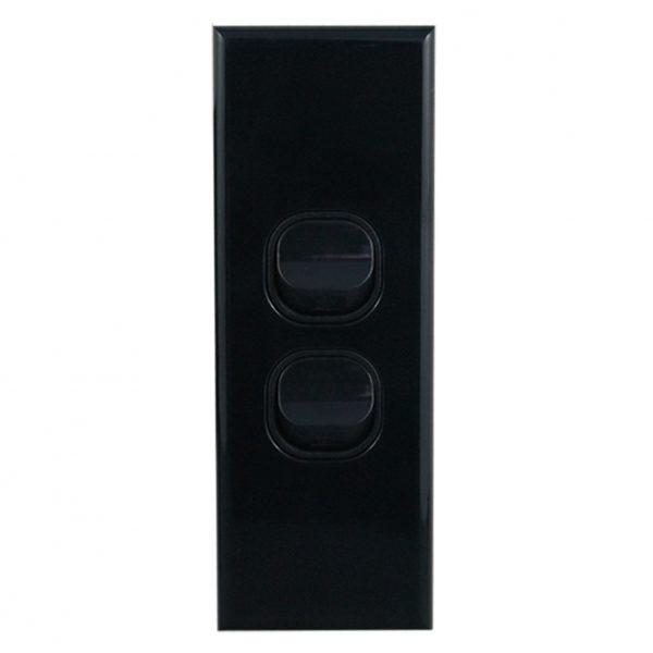 2 Gang Architrave Switch 10A 240V AC BLACK