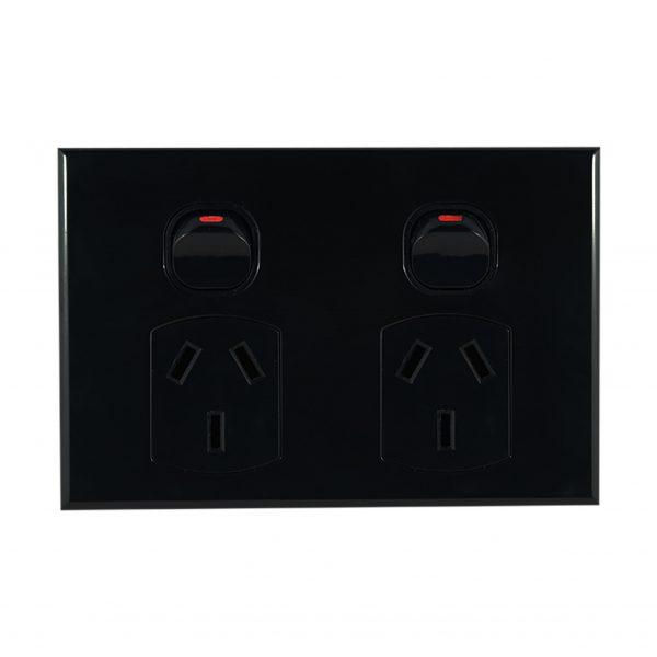 Double GPO Slimline 10A 240V AC BLACK | GEO Series