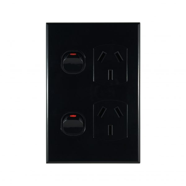 Vertical Double Power Point Black 10A 240V AC | GEO Series