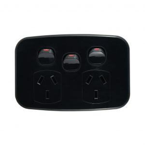 Double Power Point with Extra Switch 10A 250V AC BLACK | LUNA Series