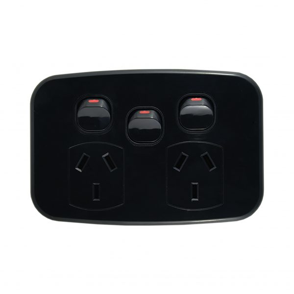Double Power Point with Extra Switch 10A 250V AC BLACK   LUNA Series