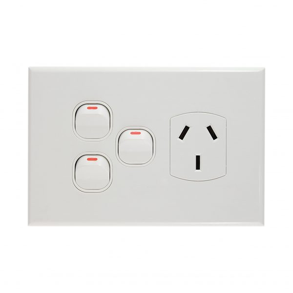 Single GPO with 2 Extra Switches 10A 240V | GEO Series