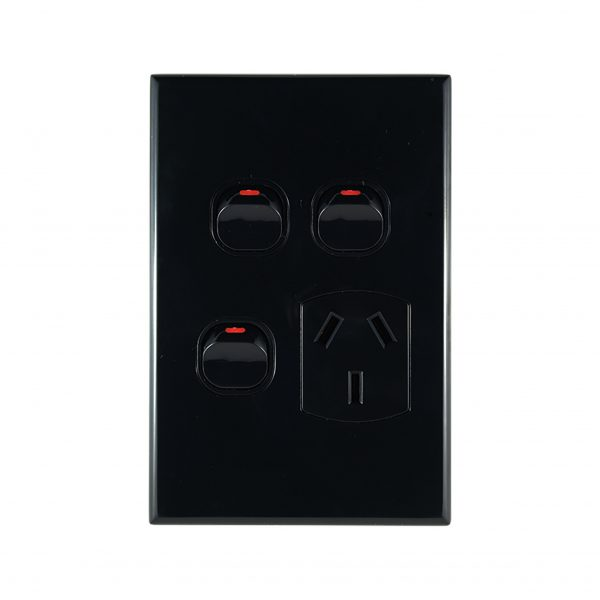 Single GPO + 2 Extra Switches Vertical Black 10A 240V AC | GEO Series