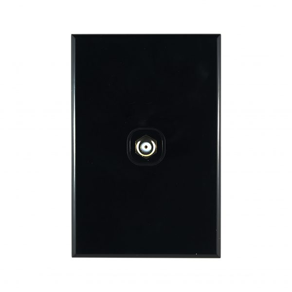 TV Plate F to F Type Connector 75 Ohms BLACK
