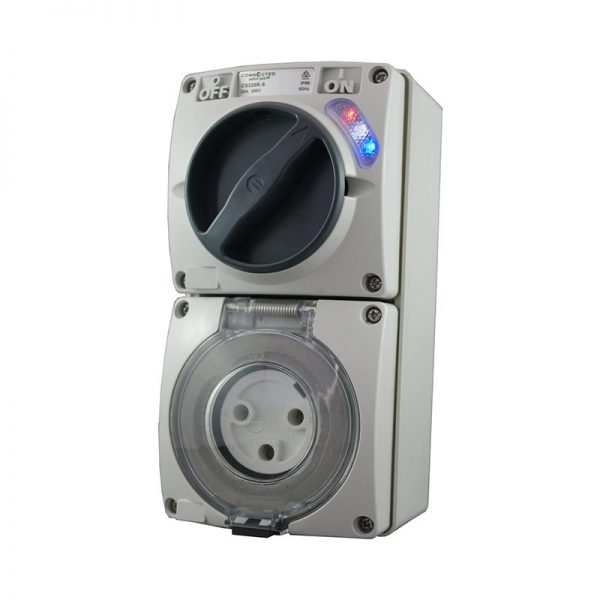Switched Socket Outlet 32A 250V AC 3 Pin Round IP66