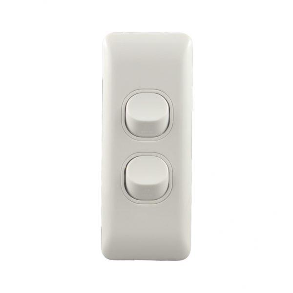 2 Gang Architrave Light Switch 16amp 250V AC BASIX Series