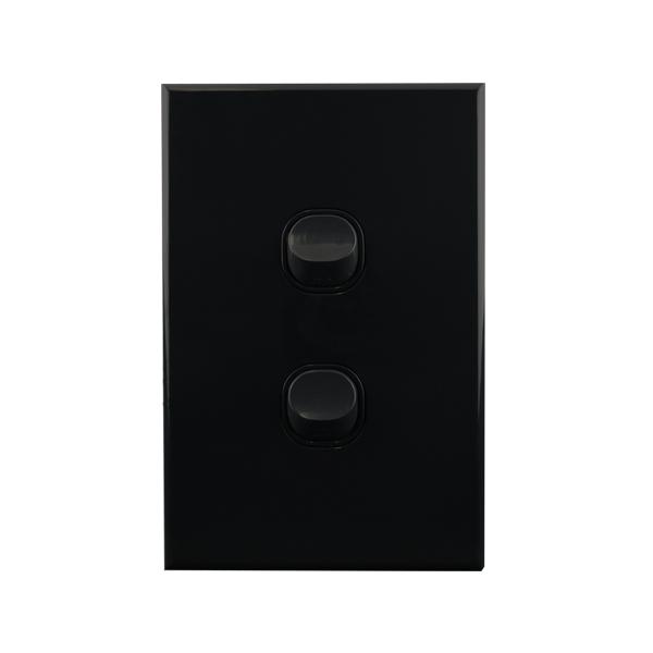 Light Switch 2 Gang BLACK 10amp 250V AC BASIX S Series