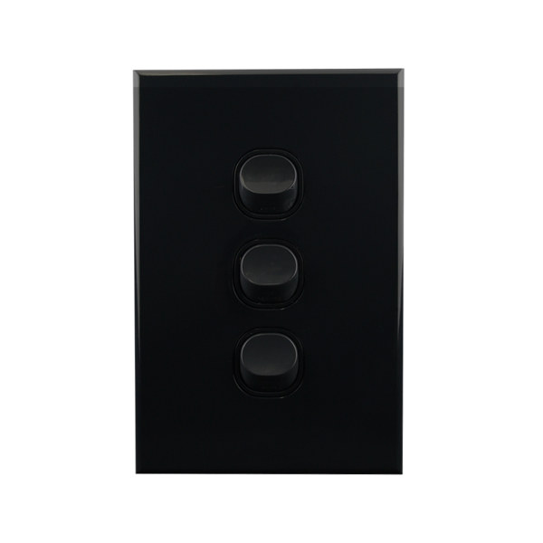 Light Switch 3 Gang BLACK 10amp 250V AC BASIX S Series