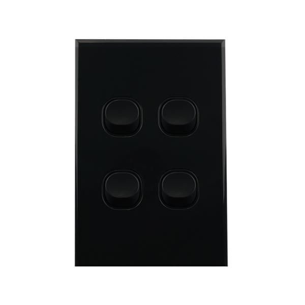 Light Switch 4 Gang BLACK 10amp 250V AC BASIX S Series