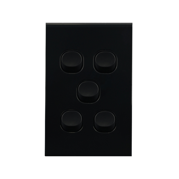 Light Switch 5 Gang BLACK 10amp 250V AC BASIX S Series