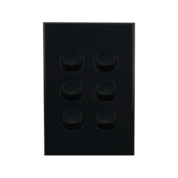 Light Switch 6 Gang BLACK 10amp 250V AC BASIX S Series