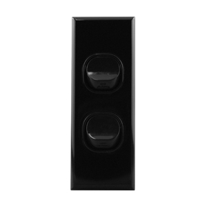 Architrave Switch 2 Gang 16A Black | BASIX S Series