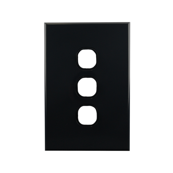 3 Gang Grid Plate BLACK   BASIX S Series