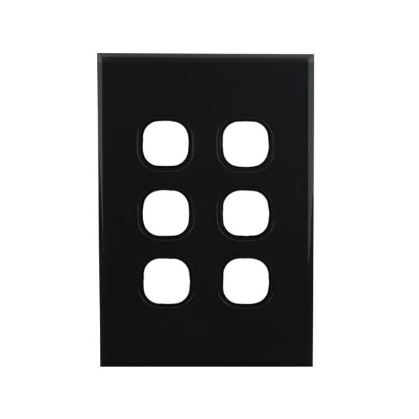 6 Gang Grid Plate BLACK   BASIX S Series