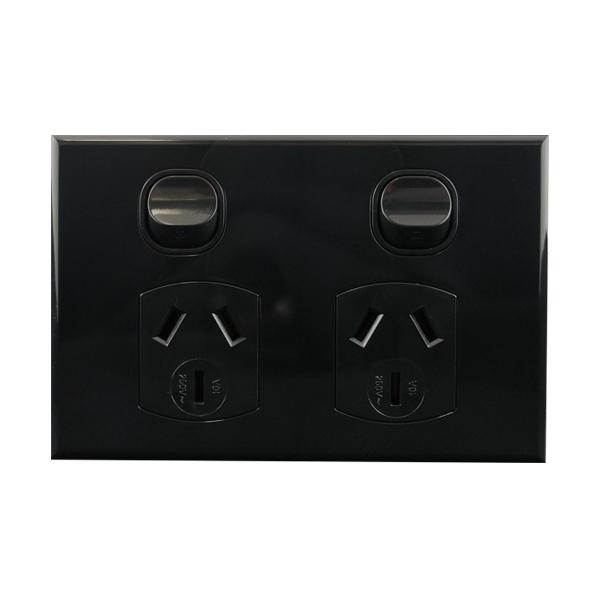 Black Double Power Point 10A 250V AC BASIX S