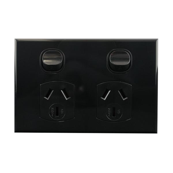 Double Pole Power Outlet Black 10A 250V AC | BASIX S