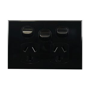 Double Power Point With Extra Switch Black 10A 250V AC BASIX S Series