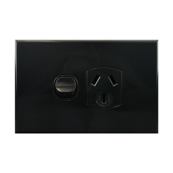 Single Power Point Black 10A 250V AC | BASIX S