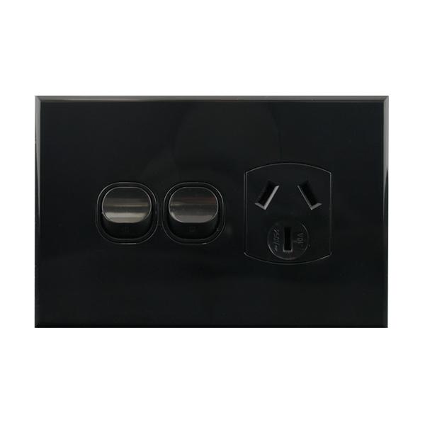 Single GPO with Extra Switch Black 10A 250V AC | BASIX S Series