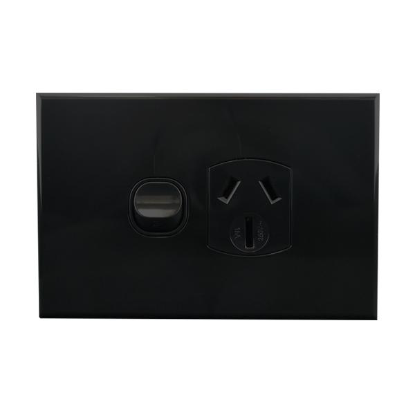 15A Single GPO Black 250V AC   BASIX S Series