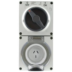 Switched Socket Outlet 20A 250V AC 3 Round Pin IP66