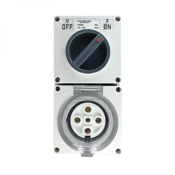 Switch Socket Outlet 20A 500V AC 5 Pin IP66 RUN OUT MODEL