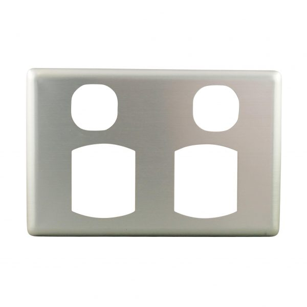 Stainless Steel Cover Plate Quick Fit Double Power Point   Suits BASIX S
