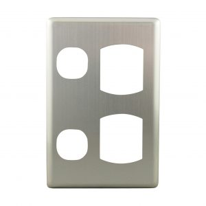 Stainless Steel Cover Plate Vertical Double Power Point   Suits BASIX S