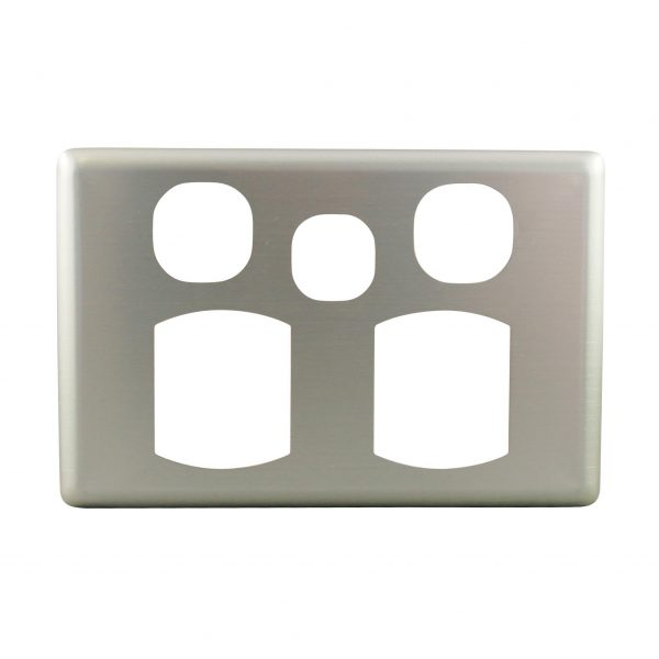 Stainless Steel Cover Plate Double Power Point with Extra Switch BASIX S