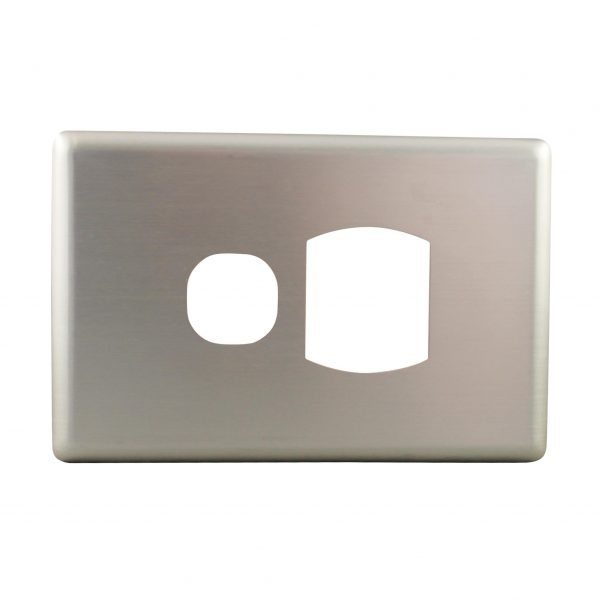 Stainless Steel Cover Plate Single Power Point   Suits BASIX S Series
