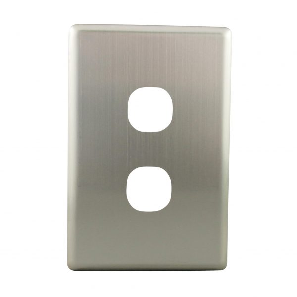 Stainless Steel Cover Plate 2 Gang   Suits BASIX S Series